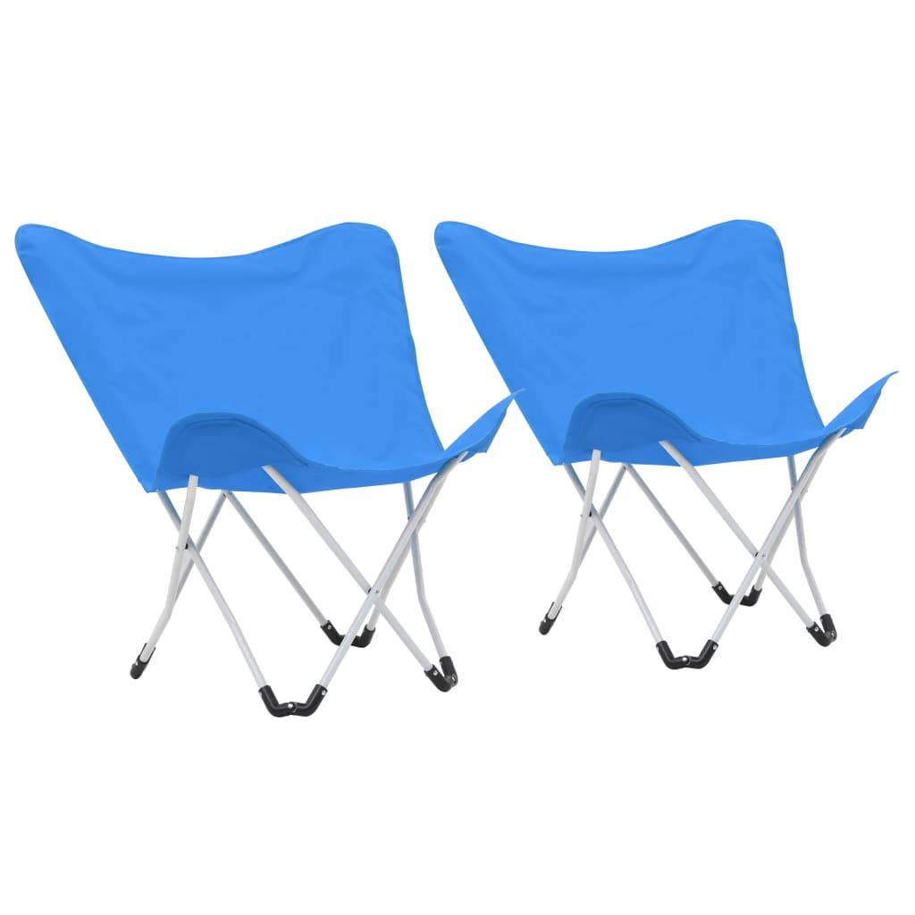 vidaXL Scaune de camping tip fluture, 2 buc., albastru, pliabil poza 2021 vidaXL