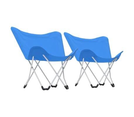 vidaXL Sillas de camping estilo mariposa plegables 2 unidades azul[3/11]