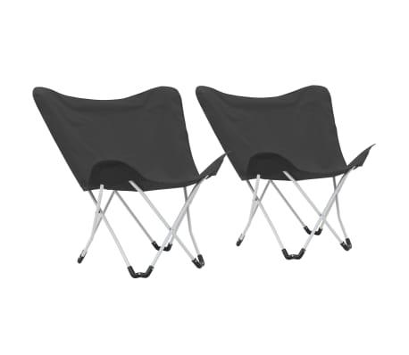 vidaXL Kempingové stoličky v tvare motýľa 2 ks čierne skladacie