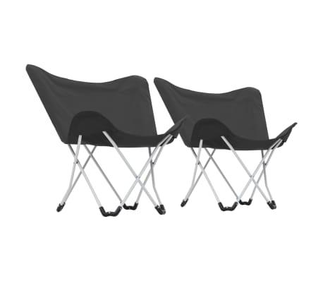 vidaXL Sillas de camping estilo mariposa plegables 2 unidades negras[3/11]
