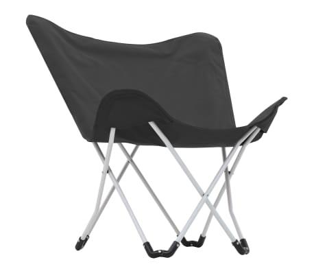 vidaXL Sillas de camping estilo mariposa plegables 2 unidades negras[4/11]