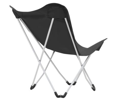 Vidaxl Papillon Pcs Pliable 2 Yfmy7gvib6 Chaise Noir De Camping Forme XkPZiu