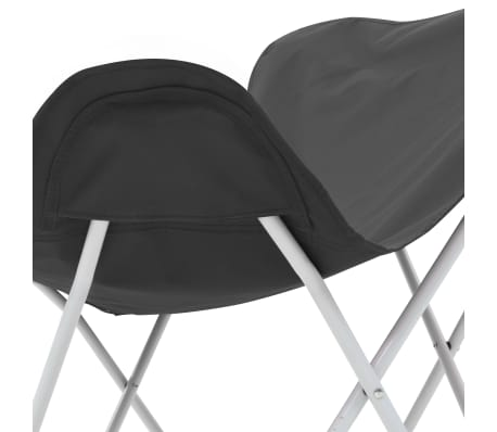 vidaXL Sillas de camping estilo mariposa plegables 2 unidades negras[9/11]