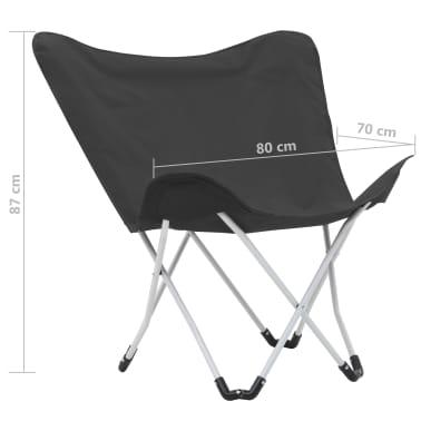 vidaXL Sillas de camping estilo mariposa plegables 2 unidades negras[11/11]