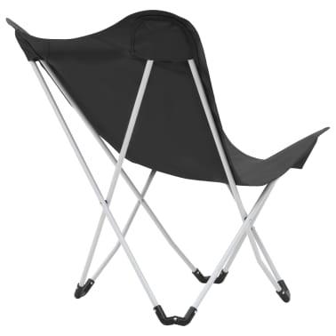 vidaXL Sillas de camping estilo mariposa plegables 2 unidades negras[8/11]