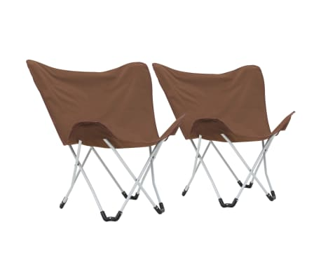 vidaXL Sillas de camping estilo mariposa plegables 2 unidades marrón[1/11]