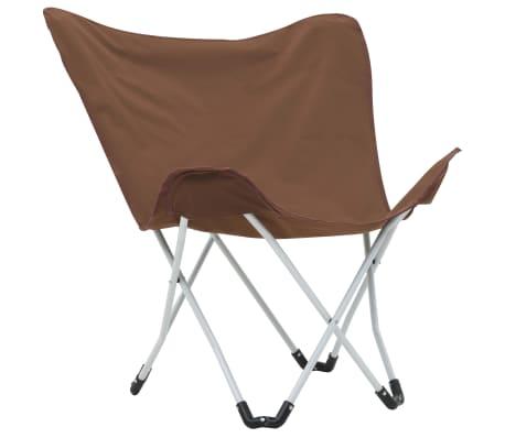 vidaXL Sillas de camping estilo mariposa plegables 2 unidades marrón[2/11]