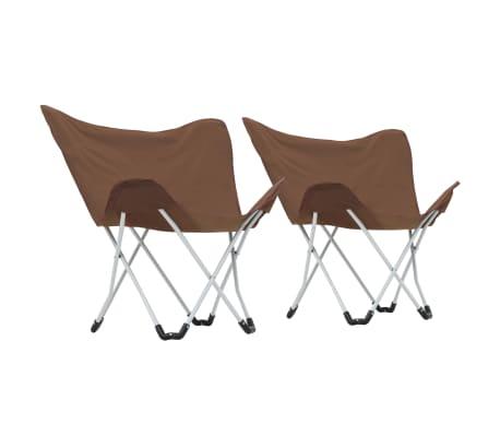 vidaXL Sillas de camping estilo mariposa plegables 2 unidades marrón[3/11]