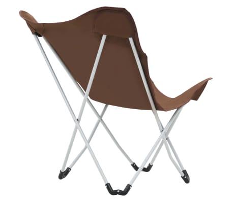 vidaXL Sillas de camping estilo mariposa plegables 2 unidades marrón[8/11]