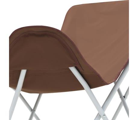 vidaXL Sillas de camping estilo mariposa plegables 2 unidades marrón[9/11]