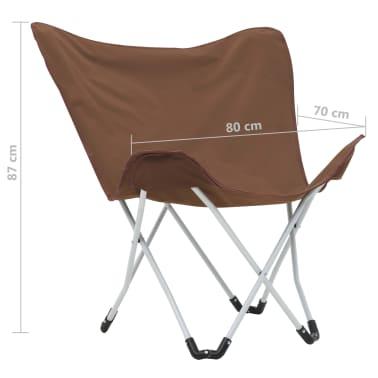 vidaXL Sillas de camping estilo mariposa plegables 2 unidades marrón[11/11]