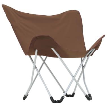vidaXL Sillas de camping estilo mariposa plegables 2 unidades marrón[4/11]