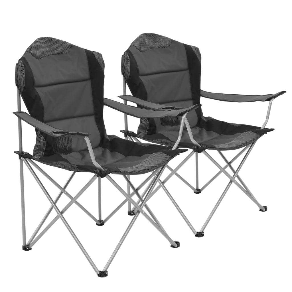 vidaXL Scaune de camping pliabile, 2 buc., gri, 96 x 60 x 102 cm imagine vidaxl.ro