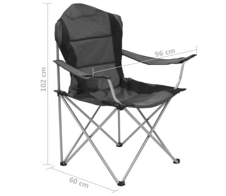 vidaXL Sillas plegables de camping 2 unidades gris 96x60x102 cm[12/12]