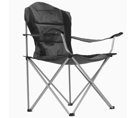 vidaXL Sillas plegables de camping 2 unidades gris 96x60x102 cm[5/12]