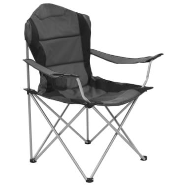 vidaXL Sillas plegables de camping 2 unidades gris 96x60x102 cm[2/12]