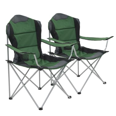vidaXL Folding Camping Chairs 2 pcs 96x60x102 cm Green[1/12]