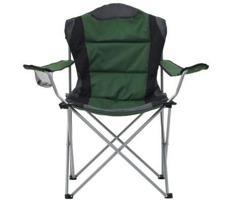 vidaXL Folding Camping Chairs 2 pcs 96x60x102 cm Green[2/12]