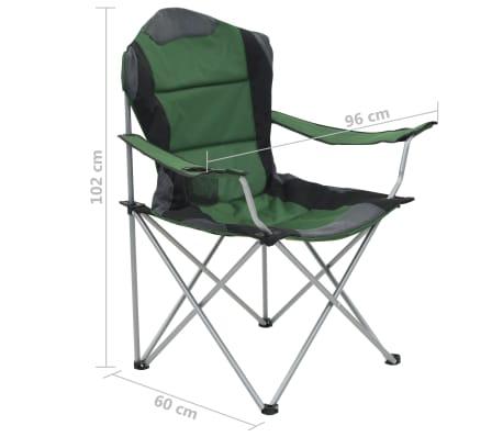 vidaXL Folding Camping Chairs 2 pcs 96x60x102 cm Green[12/12]