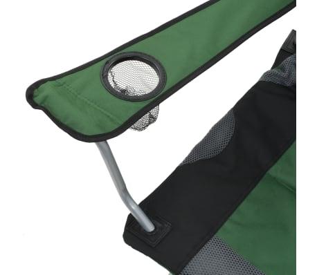 vidaXL Folding Camping Chairs 2 pcs 96x60x102 cm Green[10/12]