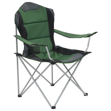 vidaXL Folding Camping Chairs 2 pcs 96x60x102 cm Green[3/12]