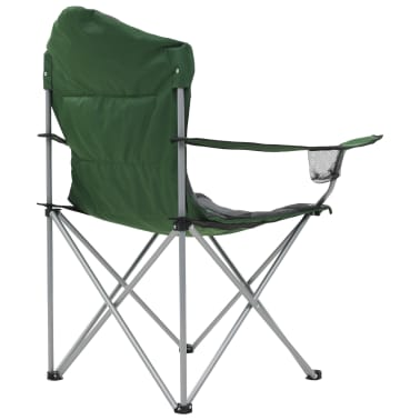 vidaXL Folding Camping Chairs 2 pcs 96x60x102 cm Green[7/12]