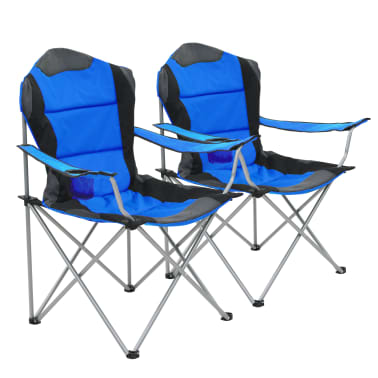 vidaXL Sillas plegables de camping 2 unidades 96x60x102 cm azul[1/12]