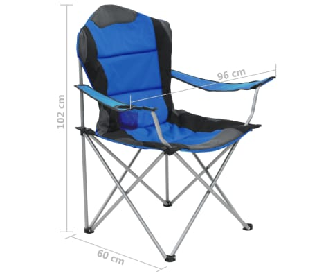 vidaXL Sillas plegables de camping 2 unidades 96x60x102 cm azul[12/12]
