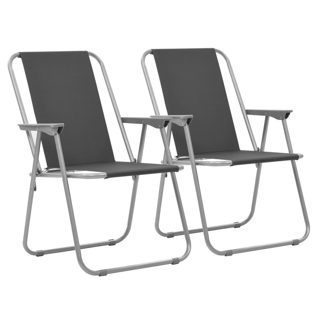 vidaXL Skládací kempingové židle 2 ks 52 x 59 x 80 cm šedé