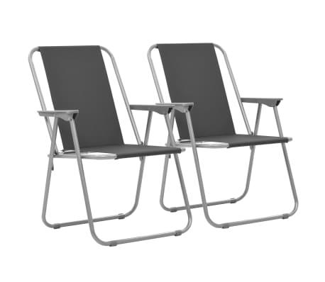 vidaXL Folding Camping Chairs 2 pcs 52x59x80cm Grey