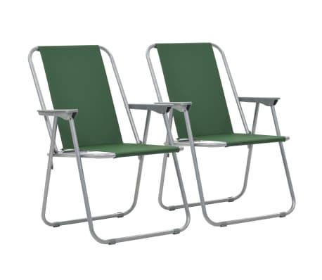 vidaXL Zložljivi stoli za kampiranje 2 kosa 52x59x80 cm zelene barve-picture