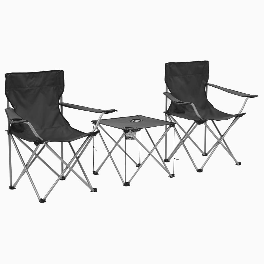 vidaXL Kempingový stůl a židle sada 3 kusů šedé