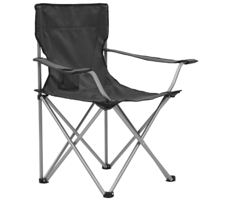 vidaxl table et chaises de camping 3 pcs gris. Black Bedroom Furniture Sets. Home Design Ideas
