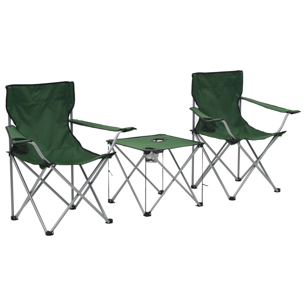 vidaXL Kempingový stůl a židle sada 3 kusů zelené