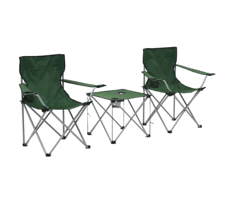 vidaxl table et chaises de camping 3 pcs vert. Black Bedroom Furniture Sets. Home Design Ideas