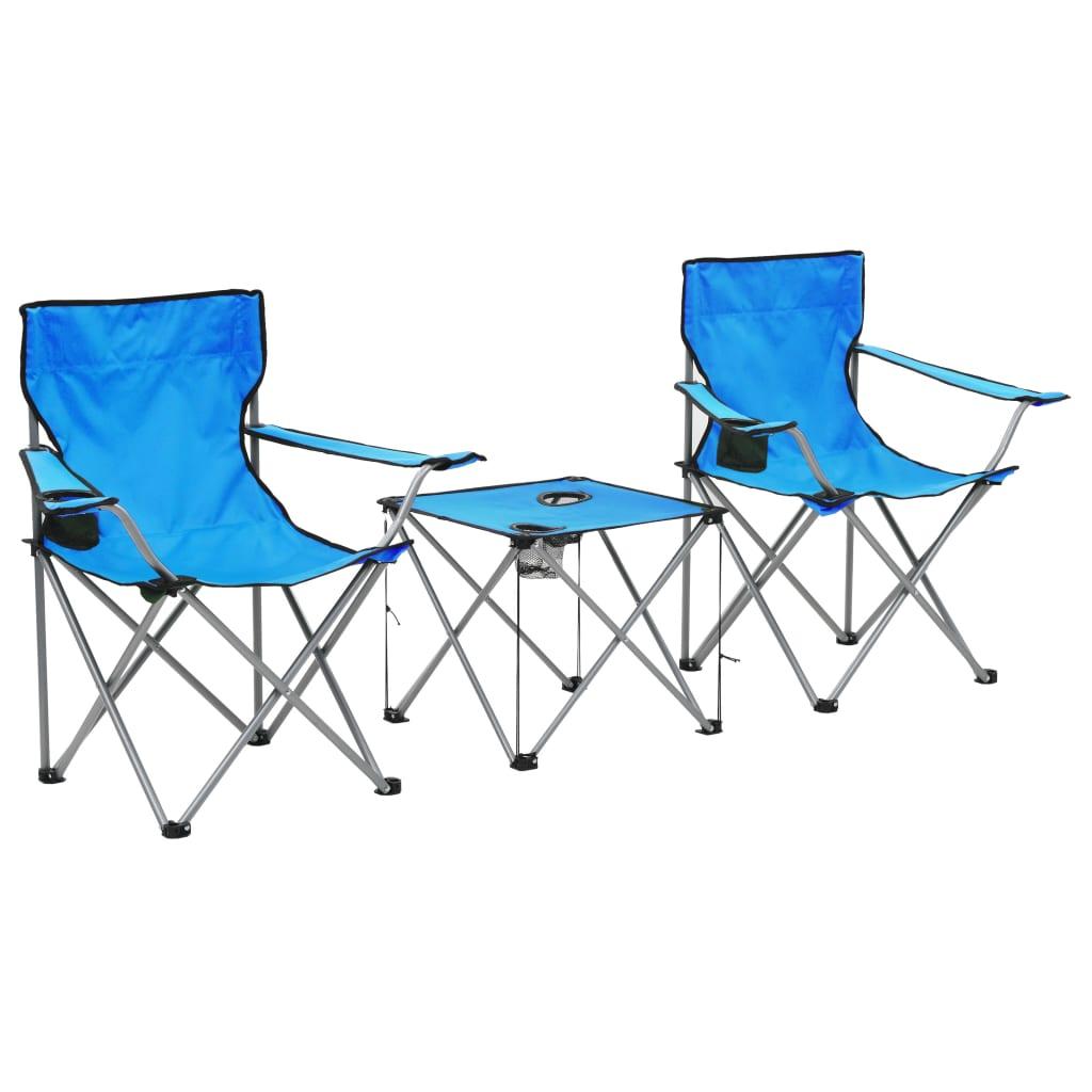 vidaXL Kempingový stůl a židle sada 3 kusů modré