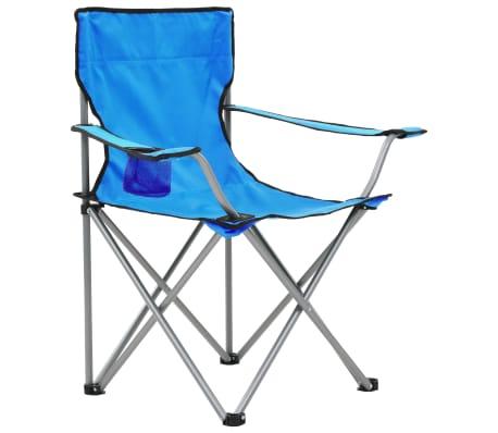 vidaXL Conjunto de mesa y sillas de camping 3 piezas azul[4/15]