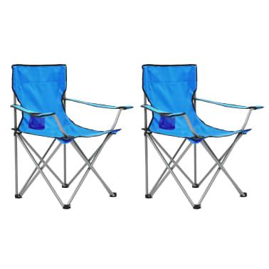 vidaXL Conjunto de mesa y sillas de camping 3 piezas azul[2/15]