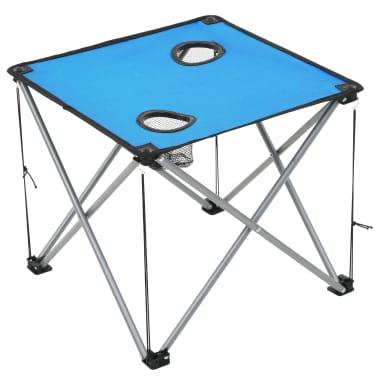 vidaXL Conjunto de mesa y sillas de camping 3 piezas azul[10/15]