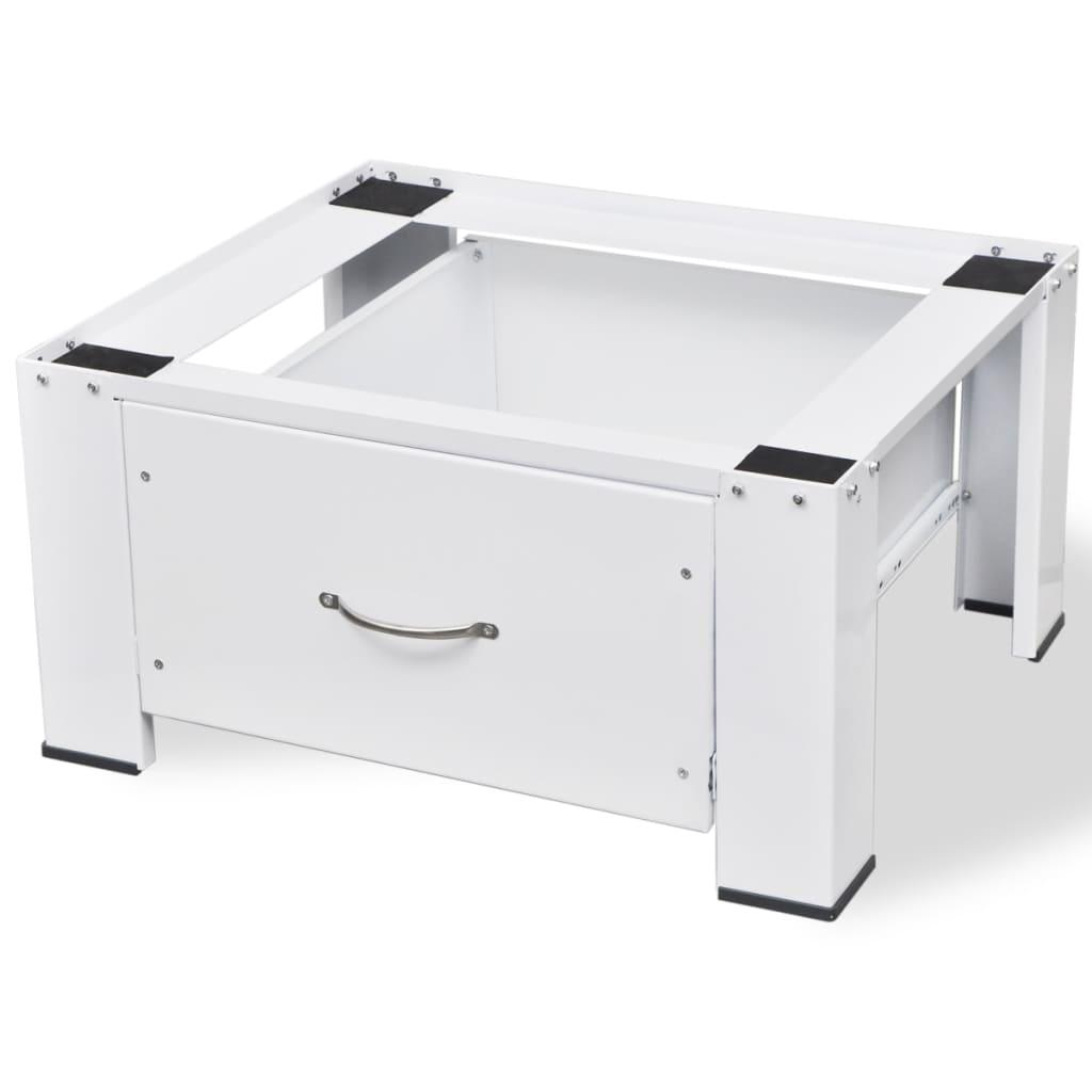 vidaXL Podstavec pod pračku bílý se zásuvkou