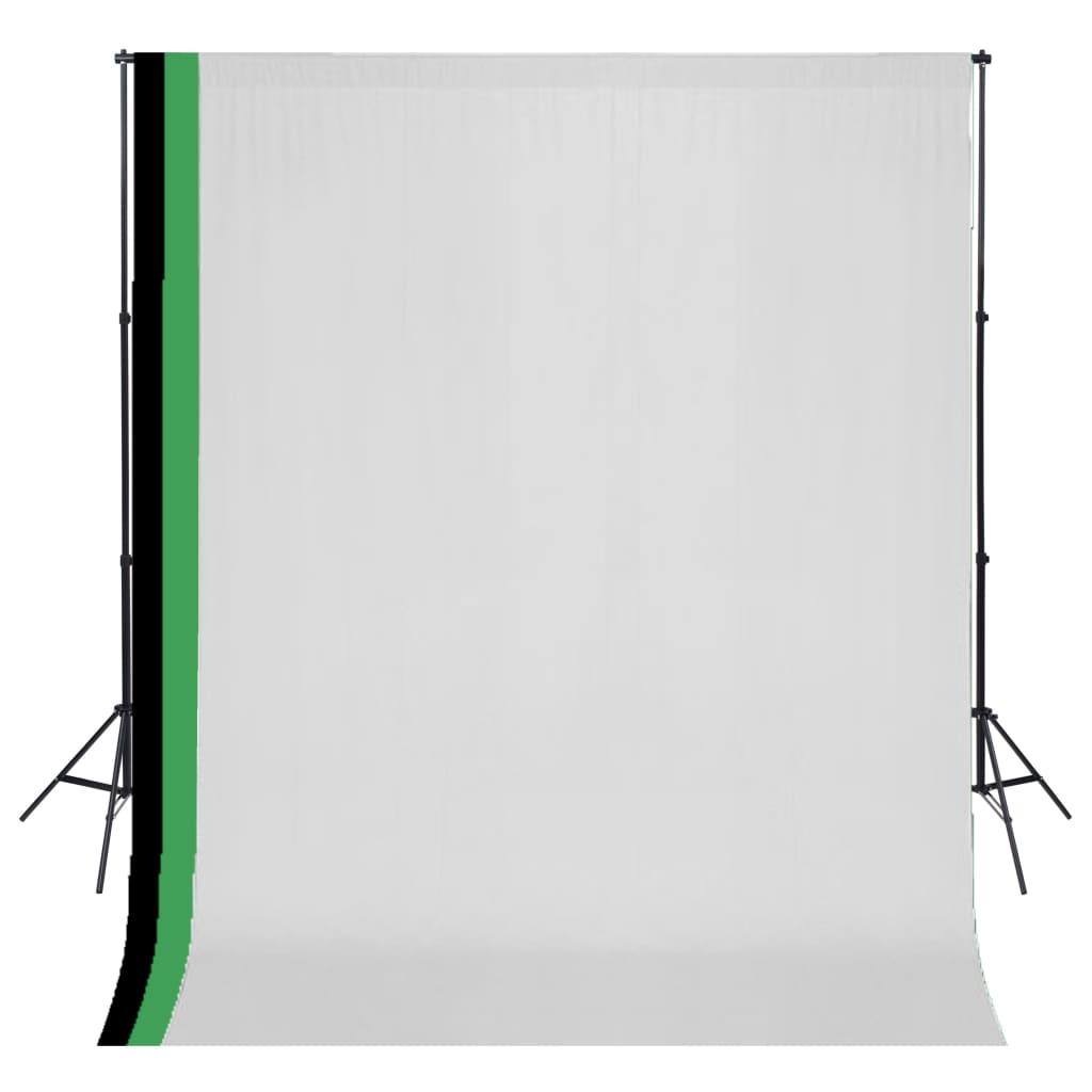 vidaXL Kit studio foto cu 3 decoruri și ramă ajustabilă, 3 x 3 m poza 2021 vidaXL