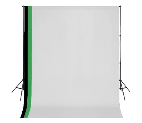 vidaXL Kit de studio photo et 3 toiles de fond réglables Coton 3x3 m[1/6]