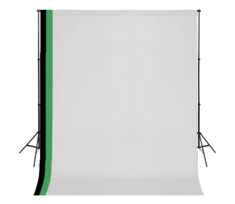 vidaXL Fotostudijos kompl. su 3 medviln. fonais ir regul. rėmu, 3x3m