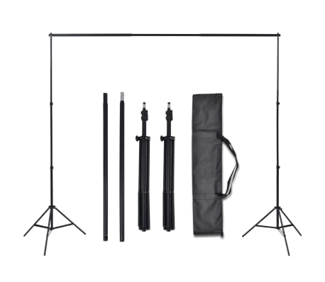 vidaXL Kit de studio photo et 3 toiles de fond réglables Coton 3x3 m[5/6]