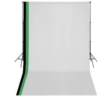 vidaXL Fotostudijos kompl. su 3 medviln. fonais ir regul. rėmu, 3x5m