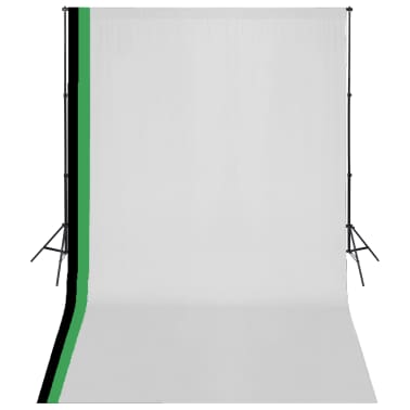 vidaXL Fotostudio Set 3 Baumwolle-Hintergründe Rahmen verstellbar 3x5m[1/6]