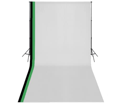 vidaXL Kit de studio photo et 3 toiles de fond réglables Coton 3x6 m