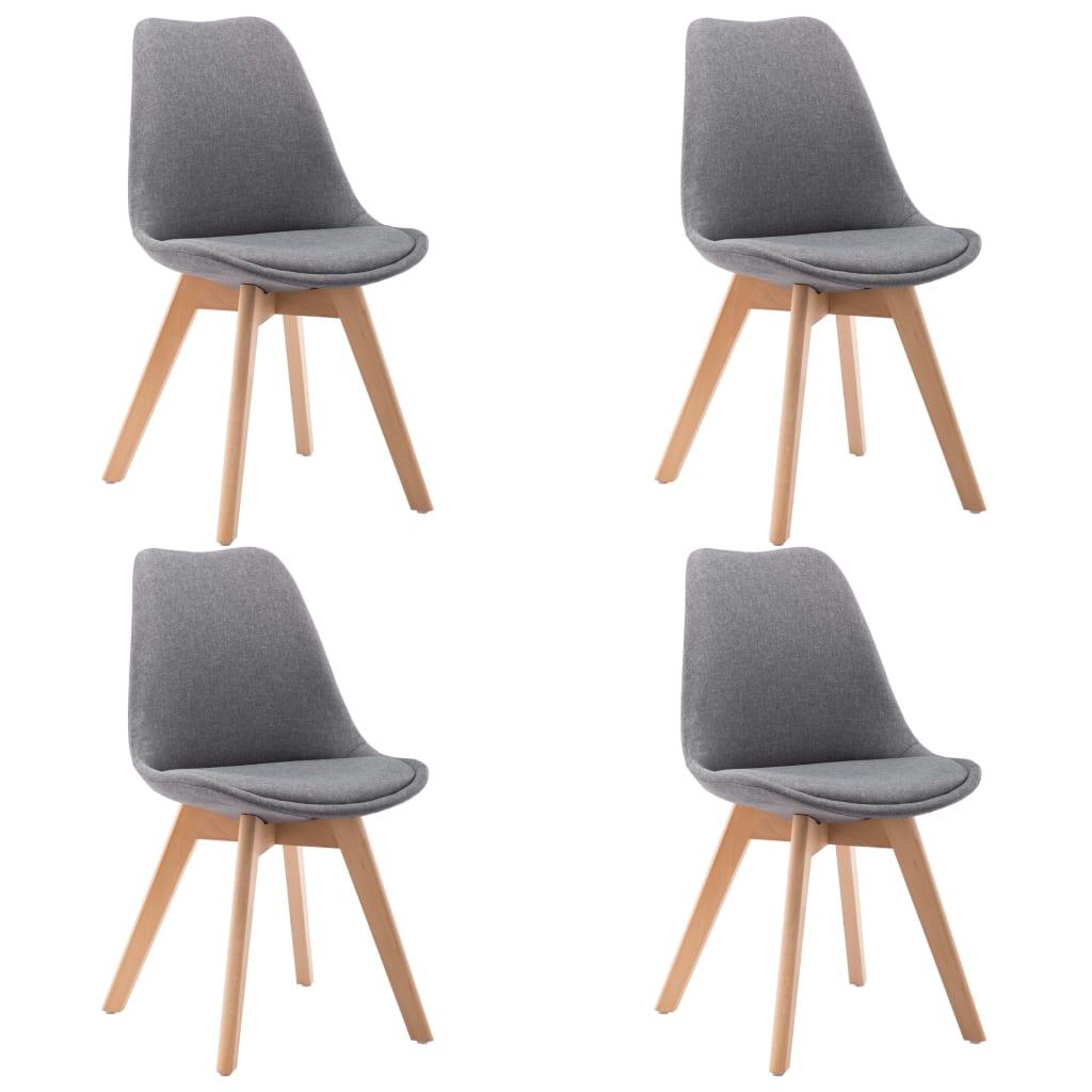vidaXL Καρέκλες Τραπεζαρίας 4 τεμ. Ανοιχτό Γκρι Υφασμάτινες