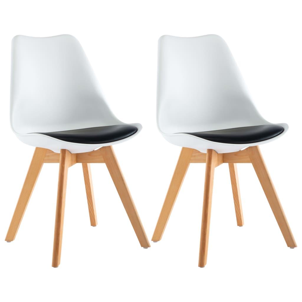 vidaXL Καρέκλες Τραπεζαρίας 2 τεμ. Ασπρόμαυρες
