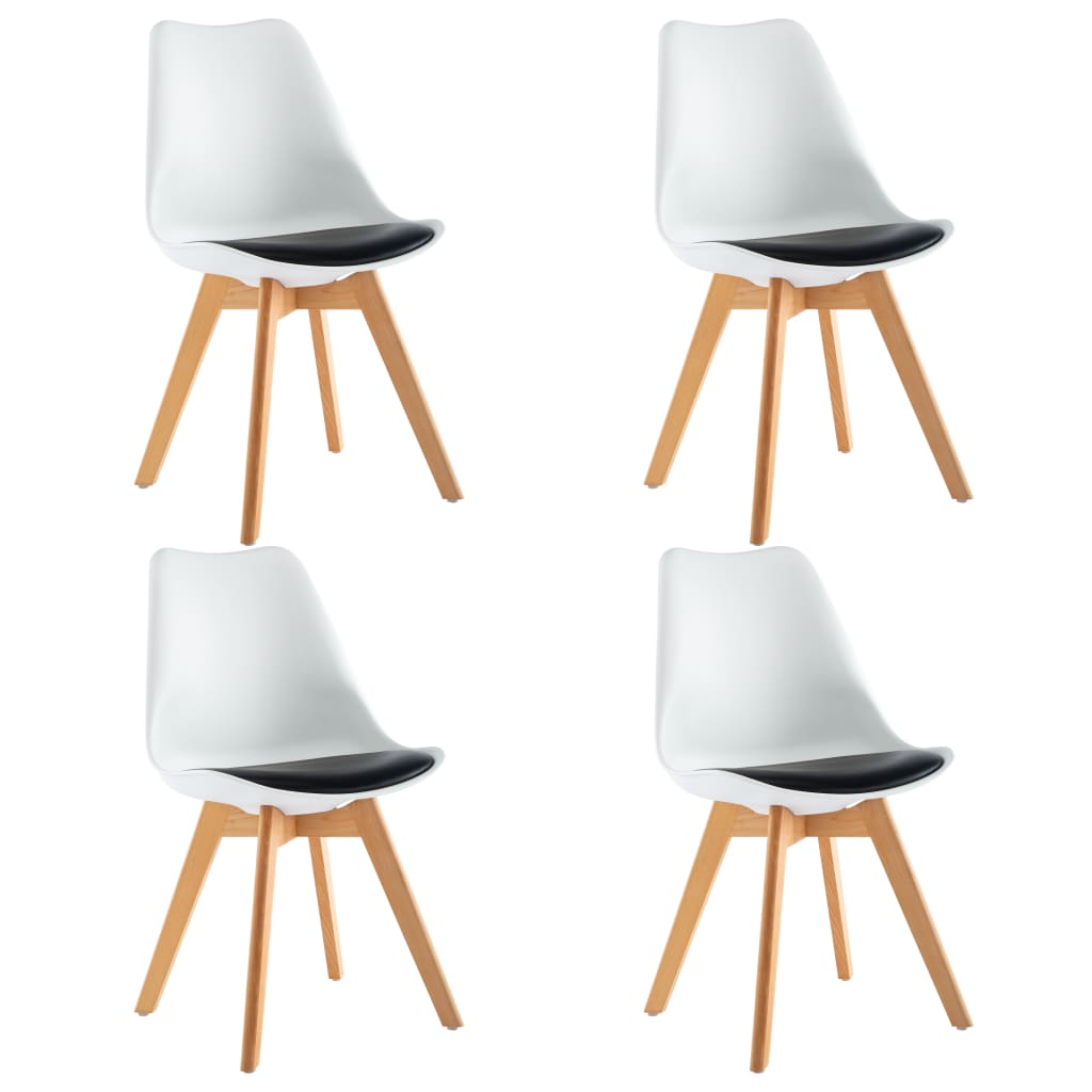 vidaXL Καρέκλες Τραπεζαρίας 4 τεμ. Ασπρόμαυρες από Συνθετικό Δέρμα